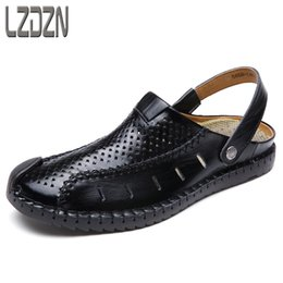 semi casual shoes Promo Codes - In the summer of 2017 new Baotou men's sandals male leather shoes beach shoes sandals slippers semi casual tide