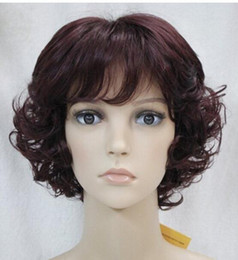 Peluca rizada vino online-SHIPPIN + ++ GRATIS Nueva peluca Corta Vino Rojo Mezcla Mujer Peluca rizada completa Nueva peluca de cabello peluca