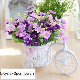cesta de buquê de flores artificiais Desconto Htmeing Conjunto Artificial Rattan Bicicleta Cesta Bouquets de Flores Para O Casamento Do Carro Ao Ar Livre Indoor Casa Decoração de Mesa Q190522