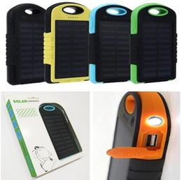5000mAh cargador de energía solar Fuente portátil Dual USB Linterna LED Batería de panel solar Banco de energía para teléfono móvil a prueba de agua para MP3 móvil DHL desde fabricantes