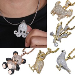 Joyas de cabra online-Chapado en oro CZ Cubic Zirconia Bear Eagle Owl Goat Octopus Colgante Collar de cadena Lotes Estilos Animal Hiphop Jewelry Regalos para hombres y mujeres