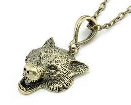 Animais dos lobos on-line-Colar de pingente de cabeça de lobo Animal jóias homens colares