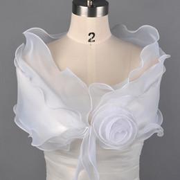 casacos de organza bolero nupcial Desconto 2019 Na Venda Charmoso Casacos De Casamento Branco Nupcial Bolero Organza Com Flor Envoltório Do Casamento Xaile Acessório Do Casamento