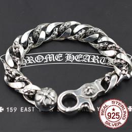Pulseiras id de vintage on-line-S925 pulseiras de prata esterlina personalidade moda clássico vintage dominador cruz do exército da flor do punk estilo hip-hop modelos quentes