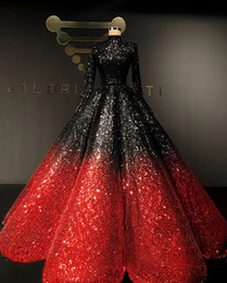 ball gown velvet dresses Promo Codes - Two Tone Sequins Sparkly Evening Dresses 2020 High Neck Long Sleeve Puffy Skirt Muslim Arabic Luxury Ball Gown Prom Dress