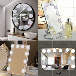 Lampade da parete usb online-Lampadina a specchio per trucco a LED Hollywood Vanity Lights Lampada da parete dimmerabile senza scatti USB 12V 6 10 14 Kit lampadine per specchiera