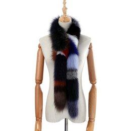 piel de zorro multicolor Rebajas 2018 genuina a estrenar real de piel de zorro bufanda larga de la Mujer Moda Bufandas de piel de invierno abrigos mullido caliente de lujo bufandas multicolores