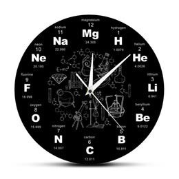 2019 настольный образовательный Periodic Table Of Elements Wall Art Chemical Symbols Wall Clock Educational ElementaL Display Classroom Clock Teacher's Gift скидка настольный образовательный