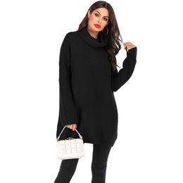 Mulheres de camisola de gola alta de acrílico on-line-Acrílico Macio Crochet Mulheres Camisola 2019 Moda Mid-Long Estilo Solto Mulheres Camisola de Inverno Outwear Senhoras Gola Quente