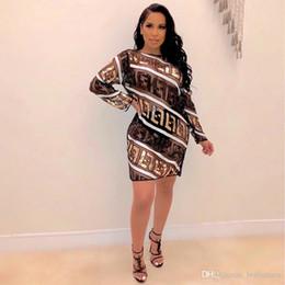 2019 i tipi piegano il nastro FF lettere Designer vestiti delle donne stampati sexy Grenadine vestiti delle donne Paillettes Prospettiva casual Abbigliamento Donna
