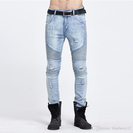 denim fabric washing Coupons - Fashion Male Biker Jeans Destroyed Denim Pant Fabric Elastic Slim Fit Washed Denim Skinny Pants Suit for Men Joggers