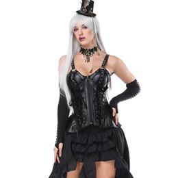 Viktorianische kleidung online-Schwarzes Leder Burlesque Korsett Kleid Vintage Gothic Kleidung Sexy Corpetes Corseletes E Espartilhos Victorian Steampunk Kostüm