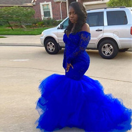 ladies tutus Coupons - 2019 African Royal Blue Long Sleeve Prom Dresses Black girl Elegance Lace Tutu Evening Dresses Plus Size Lady formal Event Gowns