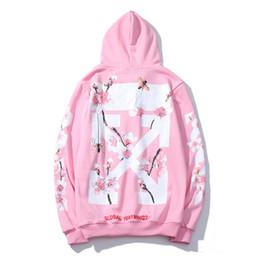 Casacos clássicos da mulher on-line-Tide marca clássico camisola OFW cereja plus veludo de alta qualidade moda casual hoodie rosa pêssego homens e mulheres casal jaqueta