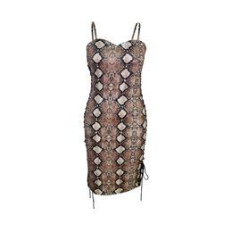 Mujeres sexy vestidos flacos Serpentina Imprimir Vestidos a cuadros Diseñador de lujo Club Dress Señora Cable Tie Dress desde fabricantes