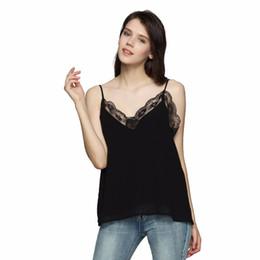 Blusa de renda preta sexy e sem manga on-line-Sexy V Neck Lace Patchwork Camis Blusa Com Forro Sem Mangas Sem Encosto Camisa Senhoras Preto Chic Regatas Wt387