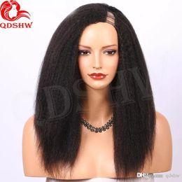 perucas italianas Desconto U Parte peruca Kinky parte reta Side Para u Parte Negras Pré arrancada Glueless Virgin brasileiro do cabelo humano Perucas Grosso italiano Yaki