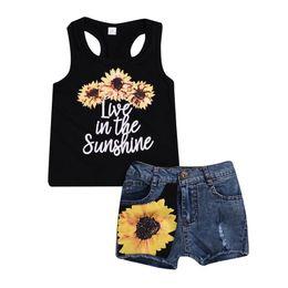 Costumi jeans online-Baby Girls Sunflower Vest Top + Denim Jeans Shorts 2 pezzi Set abiti per bambini Estate Abbigliamento casual Boutique Costume Set di abbigliamento