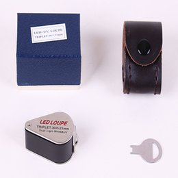 luce mini magnifier Sconti New Handheld Jeweler Mini Lente di ingrandimento illuminata Triplet Lente di ingrandimento UV LED Jade gem antique lente d'ingrandimento