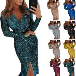 funkelndes modell Rabatt 2020 grenzüberschreitende Explosion Modelle Europa und die Vereinigten Staaten neues funkelnde Frau mit langen Ärmeln V-Ausschnitt Kleid Rock Abendessen sexy Kleid Stern w
