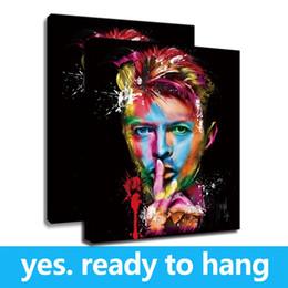portraits célèbres Promotion Encadré Toile Mur Art Célèbre Portrait Mur Affiche Toile David Bowie Peinture Photos pour La Décoration Intérieure De Haute Qualité Oeuvre - Prêt À Accrocher
