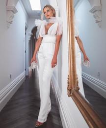 9ab5d2070ff High Quality 2019 NEW black white lace v neck sleeveless Jumpsuit elegant  Bodycon Celebrity evening Party Bandage Jumpsuits
