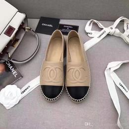 Canada 2018 Designer Toile Chaussures de pêcheur à la main Chaussures plates à semelle de paille Chanvre Loisirs Mocassins Chaussures Espadrilles Taille: 35-39 L-92 supplier loafers sole Offre