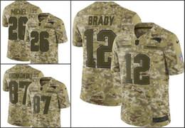 Nueva InglaterraPatriotas Men # 12 Tom Brady 26 Sony Michel 87 Rob Gronkowski Camo Saludo al Servicio Retirado del jersey del jugador de Jóvenes Mujeres Limited desde fabricantes