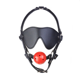 Sesso gioca le palle cave online-Imbracatura in PU Hollow Hard Ball Gag Blind Patch Eyeshade Fetish Bondage Head Horse Harness Mask Adulto SM Restraint Roleplay Sex Toys