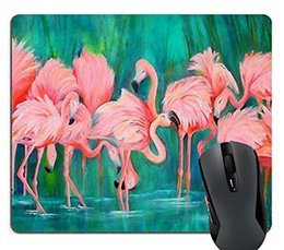 Maus-pad-muster online-Pink Flamingo Entwurf, Liebes-Herz-Flamingos Muster Stoff Customized Rechteck Mousepad, Gaming Mouse Pad Mauspad