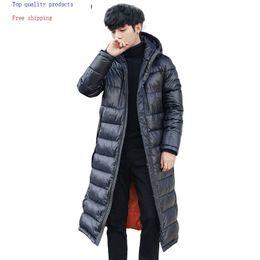 Veste d hiver vers le bas pour hommes à capuchon épais manteau long 90% duvet blanc veste coréenne Parka Doudoune Homme 1806 KJ3096