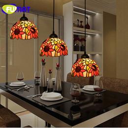 buntglas anhänger beleuchtung Rabatt FUMAT Stained Glass Shade Pendelleuchte TiffanyLamp Hanglamp Sunflower Hanging Leuchten luminaria lights Pendelleuchte