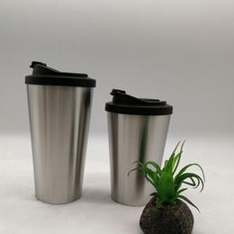 Acero doméstico online-Taza de café de vacío de acero inoxidable con tapa 2 tamaños Oficina Botella de agua Taza de viaje de negocios Taza de diente doméstico 50 piezas DHL