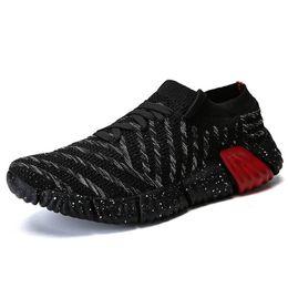 Мужская летняя обувь онлайн--Knitted Shoes For Man Sneaker Male Fashion Sock Shoes Designer Breathable Causal 2019 Spring Summer Woman Sneakers