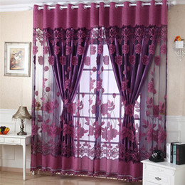 Цветочные занавески онлайн-Flower Print Tulle Sheer Door Window Decor Curtains Drape Scarf Valance Curtains and Tulle For Living Room