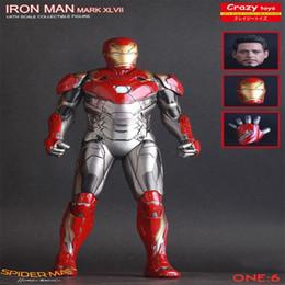 Ironman toy pvc online-Marvel Ironman Mark XLVII Mk47 1/6 escala Iron Man PVC Estatua Figura de Acción Juguetes Modelo en Película Spiderman Chiristmas regalo