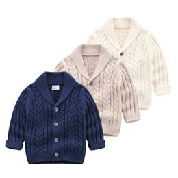 baixo colarinho Desconto 2019 Outono inverno baby boy camisola botão Cardigan Turn Down Collar camisola Boutique crianças outerwear atacado