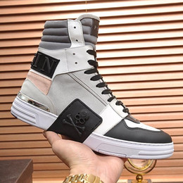 2019 PhilippPleinQp Top Quality Mens Shoes Ankle Boots Phantom Kick$ Hi Top Crystal Herrenstiefel Luxury Design Mens Fashion Boots Snea From