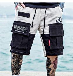 pantalones cortos para hombres Rebajas Color Patchwork Cargo Shorts Hombres Verano Streetwear 2019 Hip Hop Sudor Hasta la rodilla Ropa de entrenamiento Harem Beachshorts