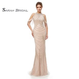 jewel maxi dress Promo Codes - 2019 Available Crystals Back High Split Champagne Mermaid Prom Dresses Sexy Backless Tulle Evening Party Gowns Maxi Dress 5403