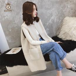 Automne Hiver Agneau Cheveux Gilet 2019 Nouvelles Femmes Marron De Mode Dames Gilet Grande taille Longue Épais Doux Cardigan Manteau 3XL W8 ? partir de fabricateur