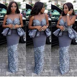2019 laço de estilo de moda africana 2019 Aso Ebi Africano Moda Vestidos de Noite Nigeriano Estilos Árabe Elegante Peplum Até O Chão Sereia bainha Prom Party Vestidos de renda laço de estilo de moda africana barato