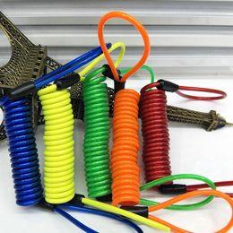 Cables de resorte online-150 cm de alarma de bloqueo de disco de seguridad antirrobo accesorios de moto rueda de motocicleta bolsa de freno de disco y recordatorio cable de resorte EEA313