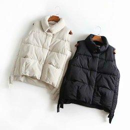 Chalecos de invierno blanco para mujer online-2019 Invierno Sólido Algodón mujeres del chaleco blanco coreano Negro Moda para mujer caliente chalecos básicos casual chic y clásico chalecos para mujer