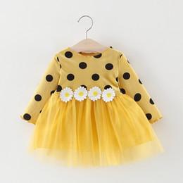 menina vestidos de impressão floral Desconto Autumn Baby Dress manga comprida infantil Traje da criança meninas Princesa Vestidos Polka Dot Daisy bebê Moda Vestuário Meninas
