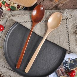 Utensílios de cozinha de madeira on-line-Alta Qualidade Natural Wood garfo colher de bambu cozinha cozinhar Jantar Sopa de chá de mel Coffee utensílio Ferramentas Soup-Colher Louça