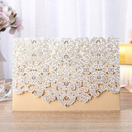 Laser Cut Wedding Invitations Foil Embossing Pocket Invitation Card In Beige Wedding Invitations With Envelopes BW-I0058