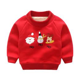Fatos de treino do bebé cute on-line-Inverno Novo Natal Roupa Dos Miúdos Bonito Red Baby Girl Pullover Quente Meninos de Algodão Hoodies Moletom Crianças Treino Tops