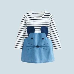 Vêtements fille marque denim rayé couture robe mignonne motif visage de chat mignon ? partir de fabricateur