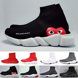 2019 menino modelo garota vestida Balenciaga Novo Designer de moda bota para as mulheres homens Speed Trainer Vermelho Triplo Preto Plana sapatos casuais Meia Bota mens Sapatilha sapato frete grátis HK82Y
